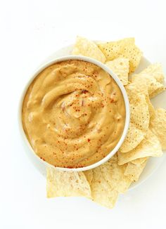 Nut-Free Vegan Queso Dip! Made with a secret ingredient to keep it creamy, velvety and totally nut, soy, gluten and dairy free! #vegan