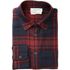 11ebc1dc8a719 Plaid Cotton Flannel Shirt (2 380 ZAR) ❤ liked on Polyvore featuring men s  fashion