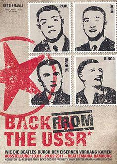 Рекламный плакат выставки The Beatles – Back from the USSR в Гамбургском музее Beatlemania