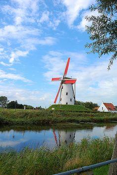 A windmill in Damme..., Belgium