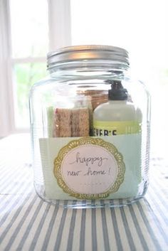 Fun way to package any gift- love these jars too! Great idea