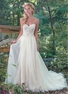 Best A-line Wedding Dresses : Glamorous Tulle Sweetheart Neckline A-line Wedding Dresses With Embroidery