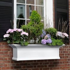 Mayne Yorkshire Rectangle Vinyl Window Box - White - Enjoy the fresh smell of flowers in your window with the Mayne Yorkshire Rectangle Vinyl Window Box - White . Crafted from high quality vinyl for. Wood Window Boxes, Window Box Flowers, Wood Windows, Balcony Flower Box, Patio Planters, Window Planter Boxes, White Planters, Railing Planters, Planter Ideas