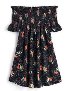Polka Dot Smocked Off Shoulder Mini Dress - Black M