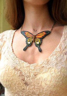 Polymer clay necklace with butterfly Handmade by Polyclaydesign