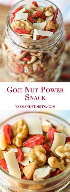 Goji Nut Power Snack - A power packed combination of dried goji berries, walnuts, almonds, coconut and cinnamon!