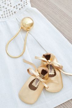 Gold Booties & Rattle
