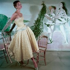 Pastels and lace in 1953. Photographed by Henry Clarke.