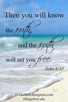 """It is only in God that any of us can find peace. We all struggle with some degree of worry, fear, or anxiety or it wouldn't be mentioned in the Bible 365 times-once for every day of the year! But thankfully, God also offers the solution. """"Then you will know the truth, and the truth will set you free."""" John 8:32 Christian Inspirational Quote. Scripture. Bible Verse."""