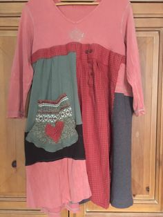 Large Upcycled Patchwork Tunic / Upcycled Boho by Cathrineann