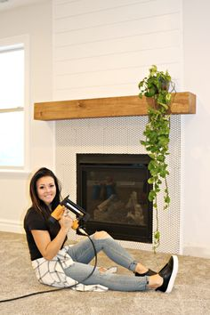 Easy DIY wood mantel, Diy And Crafts, The easiest DIY wood mantel ever! I& not a pro, but this mantel looks so good! Come join me for a fun tutorial and inexpensive project! Floating Fireplace, Diy Fireplace Mantel, Fireplace Update, Fireplace Remodel, Fireplace Makeovers, Fireplace Ideas, Mantle Shelf, Mantle Ideas, Diy Bathroom