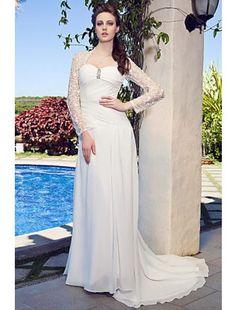 Column Sweetheart Court Train Chiffon Destination Wedding Dress with Lace Jacket