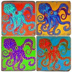 Bright ,fun, colored Octopus Italian Marble Coasters for your coastal entertaining. Kitchen Shelf Decor, Retro Kitchen Decor, Cute Kitchen, Kitchen Decor Themes, Coastal Art, Coastal Living, Coastal Cottage, Annie Sloan, Beach Theme Kitchen