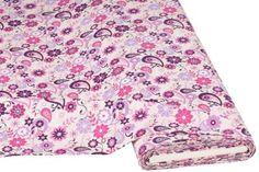 "Baumwollstoff+""Blüten+Paisley+lila/pink"" € 7,50"