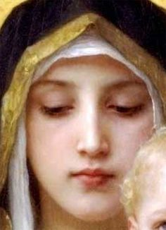 La Sainte Vierge Madonna (detail) by French artist William Adolphe Bouguereau William Adolphe Bouguereau, Munier, Madonna And Child, Sacred Art, Christian Art, Religious Art, Our Lady, Beautiful Paintings, Love Art