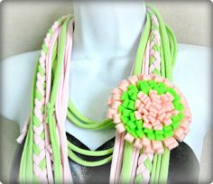 T SHIRT SCARF Pink Lemonade - Recycled scarf - tshirt scarf - recycled tshirt scarf - infinity scarf. $15.00, via Etsy.