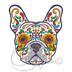 MACHINE EMBROIDERY DESIGN - Calavera French Bulldog, Dia de los muertos, Mexican design, Halloween design, calavera dog, Day of the dead by OTKETO on Etsy