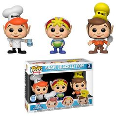 Funko Pop Ad Icons Kellogg's Rice Krispies - Snap, Crackle and Pop Funk Pop, Funko Figures, Vinyl Figures, Action Figures, Best Funko Pop, Snap Crackle Pop, Funko Pop Dolls, Funko Toys, Pop Figurine