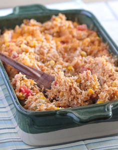 Green Chilie Chicken Enchilada Rice Bake, quick and simple weeknight dinner idea, plus makes a great freezer meal for later! - Picky Palate