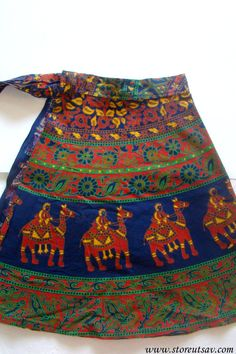 Knee Length Skirt Wrap Around Blue Jaipuri Indian Ethnic from Rajasthan in West India #bestofEtsy #gifts
