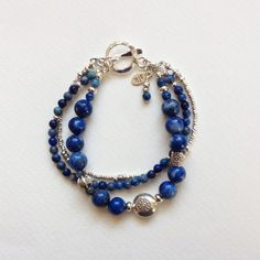 Snowflake+Lapis+and+Hill+Tribe+Sterling+by+AlkemyJewelryDesign,+$78.00