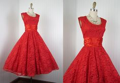 1950s Dress - Vintage 50s Red Lace and Satin