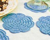 Spring Table Decor -  Pastel Blue Crochet Coasters