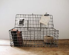Vintage Wire Basket, Rustic Home Decor & Storage by LittleKittenVintage on Etsy