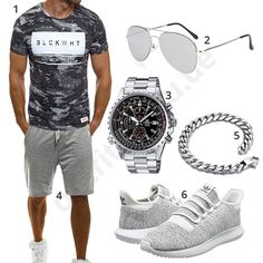 Sporty men& outfit with cool Ozonee shirt and shorts, aviator sunglasses, Casio Edifice watch, stainless steel bracelet and white Adidas tube shoes. Casio Edifice, Mode Masculine, Stylish Men, Men Casual, New Mens Fashion, Fashion Menswear, Style Fashion, Mode Man, Summer Outfits