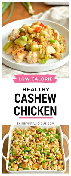 This Healthy Cashew Chicken Casserole is a low calorie dinner recipe! #healthy #cashew #chicken #casserole #low #calorie #lowcalorie #glutenfree Healthy Low Calorie Meals, Low Calorie Dinners, Low Calorie Recipes, Healthy Eating, Healthy Casserole Recipes, Healthy Gluten Free Recipes, Healthy Chicken Recipes, Cashew Chicken, Baked Chicken