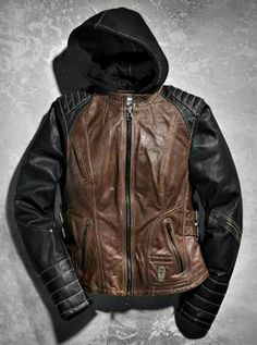 New Arrival! We have in stock at Alefs Harley-Davidson of Wichita! So cute, love the mix of brown and black leather! Big Men Fashion, Fashion Boots, Harley Davidson Online Store, Riding Jacket, Riding Gear, Leather Jackets For Sale, Motorcycle Outfit, Motorcycle Jackets, Lady Biker