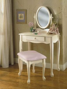 Bedroom Vanity | Off White Bedroom Vanity Set with Pastel Pink Bench - Free Shipping!