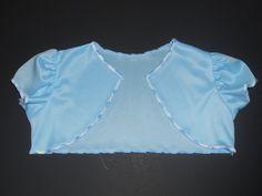 Girls Buttefly Sleeve Boleros Shrugs Jacket - Blue White n Wave Stitch