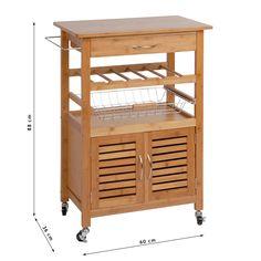 Küchen Trolley Madsen Bambus Braun 36 X 60 X 88 Cm | 1 Schublade Mit Griff