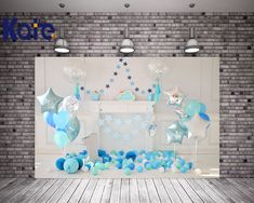 New VV Photography Background 5x7ft Pink Balloons Paper Flowers with Grey Wood Floor Photo Backdrops for Kids Birthday Parties First Birthday Backgrounds