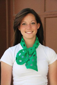 Emerald Green Crocheted Short Scarf by WritingPlaces on Etsy, $8.50