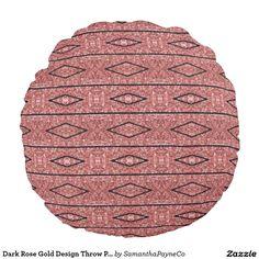 Dark Rose Gold Design Throw Pillow