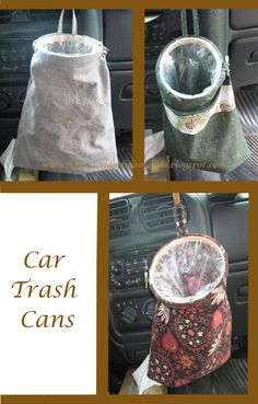 Car trash cans - link doesn't work but looks like a couple fat quarters sewn together and then sewn around the outer hoop of an embroidery hoop and loop handle(s) attached. Use plastic grocery bags or small trash bags and secure in place by putting it around the inner hoop and tightening the hoops together.