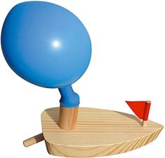 Balloon Powered Wooden Boat! GREAT for Newton's Third Law Action/Reaction demonstrations!