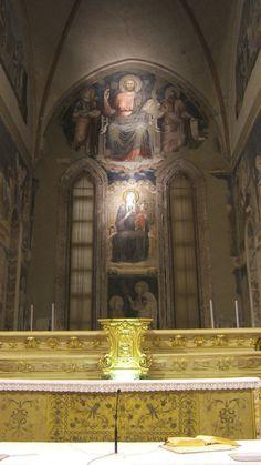 Maestro dell'Arengo (giottesco di Scuola riminese) - 1) Gesù in trono; 2)Madonna in trono; 3) Noli me tangere - affresco - Abside di Sant'Agostino, Rimini