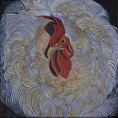 """""""White Cochin Frizzle"""" oil on canvas"""