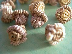 Petite Moroccan Caftan Buttons Handmade Agave Silk Lace Roses #buttons #moroccan #caftan #knotted #agavesilk