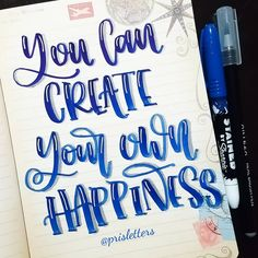 """454 Likes, 3 Comments - Prisletters (@prisletters) on Instagram: """"You can create your own happiness, you have just to try it. Markers @sharpie @artezacolors For…"""""""