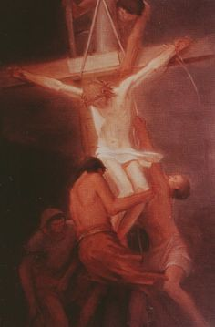 Painting of Jesus of Nazareth being taken down from His cross. Crucifixion Of Jesus, Jesus Painting, Lent, Faith, Tattoo, Collection, Jesus Crucifixion, Lenten Season, Jesus Drawings