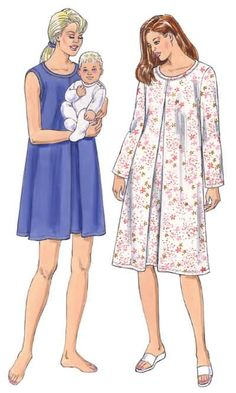 c0fe42a5a5d47 Kwik Sew pattern 3327 nursing nightgown with hidden slits in centre pleat
