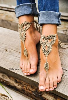 Dress up those summer feet with these naked sandals. Crochet Tan Barefoot Sandals Nude shoes Foot by barmine on Etsy!This Crochet Tan Barefoot Sandals Nude shoes Foot jewelry is just one of the custom, handmade piec Beach Foot Jewelry, Beach Shoes, Feet Jewelry, Beach Sandals, Rope Sandals, Tan Sandals, Anklet Jewelry, Golf Shoes, Beach Feet