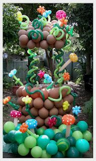 Balloon wishing well at an Alice in Wonderland themed party with a splash of jungle balloon mushrooms (watch out!)