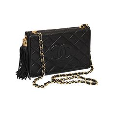 Chanel - CHANEL BLACK QUILTED BAG WITH TASSEL