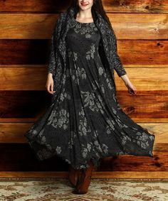 Charcoal Floral Sleeveless Handkerchief Maxi Dress - Plus