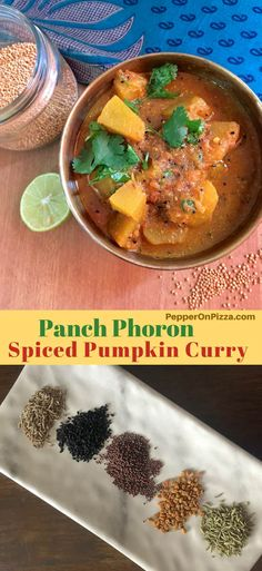 Panch Phoron Kaddu Sabzi from India's Jharkhand. Delicious Pumpkin curry cooked in traditional Indian 5 spice blend, panchphoron, yellow mustard and an onion tomato gravy Indian Squash Recipe, Pumpkin Curry, Spiced Pumpkin, Indian Curry Vegetarian, Curry Recipes, Vegetarian Recipes, Best Indian Recipes, Traditional Indian Food, Tomato Gravy
